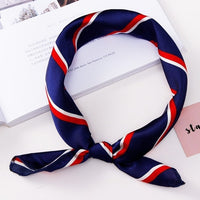Fashion Women Elegant Vintage Print 50*50cm Square Scarf Hair Tie Band For Business Party Retro Head Neck Silk Satin Scarf