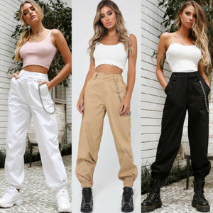 Women's Fashion Cargo Trousers, Without Chains