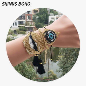 SHINUSBOHO 3Pcs/set Bracelets Eye Bileklik Men Delicas Beads Gold Heart Lip