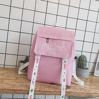 Harajuku Embroidered Canvas Women's Backpack Streamer Schoolbags for Teen Girls