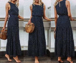 Summer Bohemian Sweet Causal Women Ladies Dress Sleeveless Dot Print Blue High Waist Ankle-Length Dress Sundress