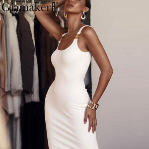 Glamaker Knitted sexy black bodycon dress Women white long dress Summer party club midi elegant office red dress sundress 2019