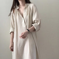 Uego Soft Cozy Cotton Linen Wrinkled Spring Dress V-neck Vintage Shirt