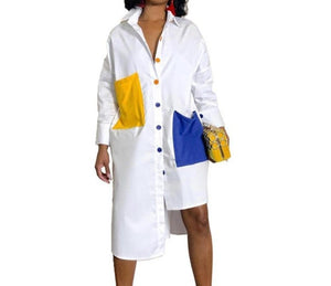 Streetwear White Shirt Dress for Women 2019 Turn-Down Collar Long Sleeve