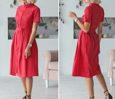 Button Shirt Dress Women Short Sleeve Office Ladies Work Dresses 2019