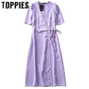 2019 Polka Dot Printing Purple Shirt Dress Women Lace Up Waist Summer