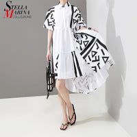 New 2019 Korean Style Women Summer White Shirt Dress Geometrical Patterns