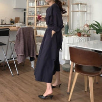 GetSpring Women Dress Long Sleeve Dress Long Loose Shirt Dress Cotton