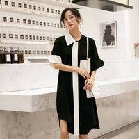 LANMREM 2019 New Street Styles Turn-down Collar Women Clothes Contrast