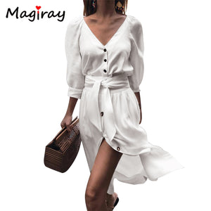 Magiray Half Sleeve Shirt Dress Women Belt Knot Sexy V Neck Party