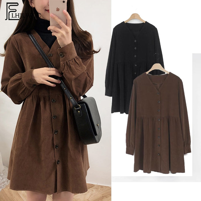 Cute Sweet Dresses Hot Sales Women Fashion Long Sleeve V Neck Vintage