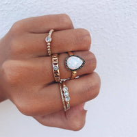 Fashion Multi-piece Women Finger Ring Sets 2019 Sweet Crystal Water Drop Bohemia Charm Ring Part