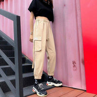 Women Hip Hop Cargo Pants Cargo Female Harem Pants Streetwear Casual Pants Black Summer Loose Harajuku Pants With Side Pockets
