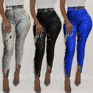 2019 Fashion Glitter Sequin Pants Women Sexy Back Zipper Pencil Pants Clubwear High