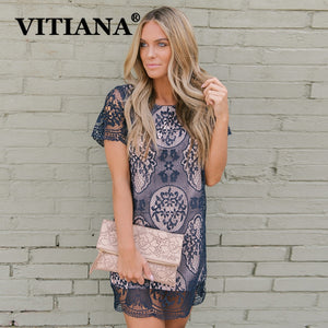 VITIANA Women Casual Party Lace T Shirt Dress Summer 2019 Female Elegant