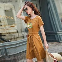 Women Dress O-Neck Avocado Print T-shirt Dress + Belt Casual Short Sleeve T-shirt