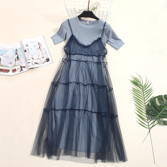 Spring  Women Lace Dresses Sweet Short Sleeve T-Shirt Dress +Mesh Tank