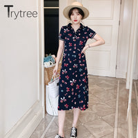 Trytree High Street Print Cotton Polyester Dress Women Turn-down Collar