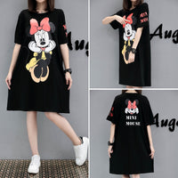 Woman summer cartoon print dress 5XL large size lady cotton short sleeve