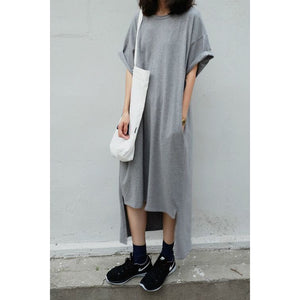 Women  Extra Long T-shirt Dress 2019 New Summer Fashion Short Front