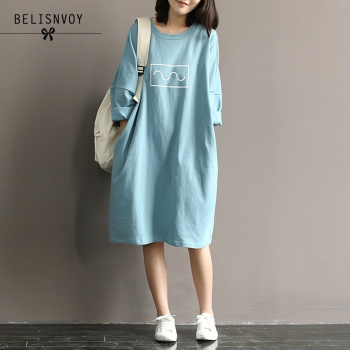 Summer Autumn 2019 Women Cotton T-shirt Dresses Mori Girl Style Loose