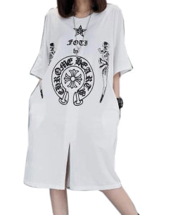 Dress XL-5XL Plus size Summer Women Long T-shirt Dress Female's V-collar