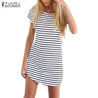 S-6XL ZANZER Summer Women Striped Short Sleeve T Shirt Dress Irregular