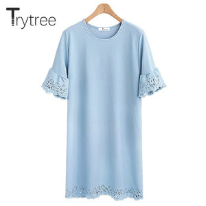 Trytree Spring Summer Dress Women Casual Solid Dress Short Sleeve