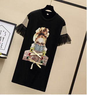 Oversized Gauze Stitching Beads T-shirt DressStreetwear Cool Girl Printed