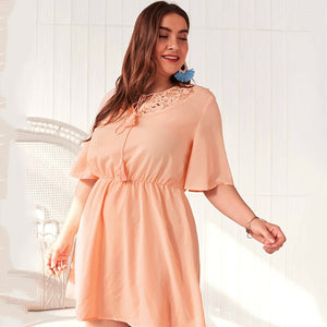 Laughido Plus Size Lace Patchwork Dress Women Elegant Club Party Vestidos Summer Tunic Slim Robe Hollow Out Tassel Dress Outfits