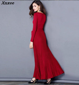 High Quality Winter Autumn Dress 2018 Jersey Dresses Women Long Sleeve Sashes Maxi Club Dress Party Dresses Robe Longue Femme
