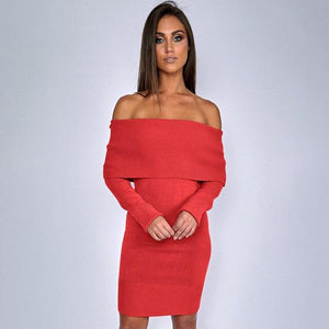 Off shoulder sweater women korean style women sweater plus size one-shoulder strapless sexy slim sweater dress knit sweater fema