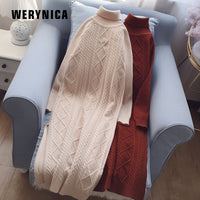 Werynica 2019 High Elasticity Spring Autumn Sweater Dress Women Warm Female Turtleneck Knitted Elegant Glitter Straight Dress
