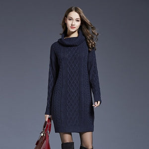 2018 Winter Crochet Sweater Dress Plus Size Spring Women Long Sleeves Turtleneck Black Knitted Dress Lady Dresses For Winter