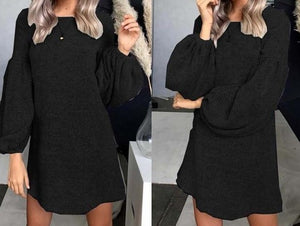 2019 Autumn Long Sweater Dress Women Knitted Long Sweater Winter Loose Warm Sweaters Ladies Pullover O-neck Black Sweater Women