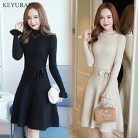 With Sashes Knitted Sweater Dress 2019 Autumn Winter Women Elegant Slim Ruffles Long Sleeve High Waist A Line Dresses Vestidos