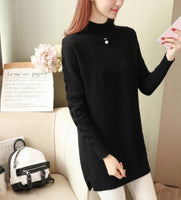 Medium Long Sweater Dress Women 2018 Autumn Winter Knit Women Sweaters high collar Pullovers Female Tricot Jumper Pull Femme