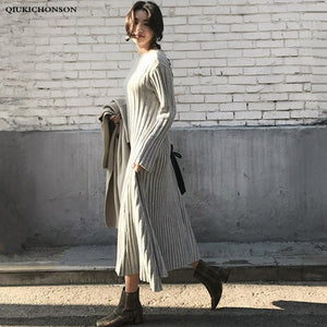 Slash Neck Long Sweater Dress Women Autumn Winter Casual Loose A Line Ribbed Knitted Dress Long Sleeve Ladies Midi Dresses robe