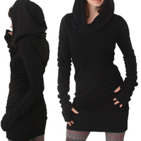 Women Long Sleeve Slim Hooded Jumper Dress Casual Sports Hoodie Hot