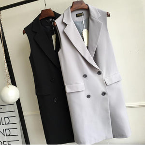 2018 Spring Autumn New Women Vests Long Pockets double breasted Sleeveless Blazers