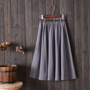 Midi Knee Length Summer Skirt Women With Belt Fashion Korean Ladies High Waist Pleated A-line School Skirt Female