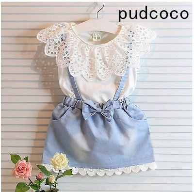 New Fashion Baby Kids Girls cotton Dress Cute Princess Sleeveless Denim Tulle Bowknot High-quality Dresses
