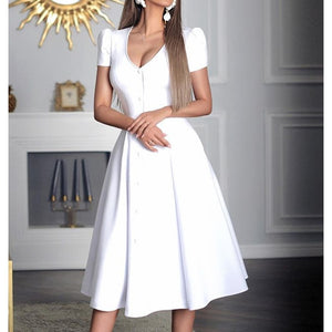 Single breasted a line party dress Short sleeve v neck elegant women dress Summer 2019 solid midi pleated dresses vestidos mujer