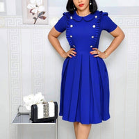 Women Elegant Summer Solid Color Cap Sleeve Casual Wear To Work Office Party Fitted Skater A-Line Swing Midi Dress