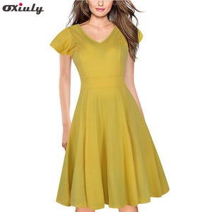 Oxiuly Women Elegant Summer Solid Color Ruched Sleeve Casual Wear To Work Office Party Fitted Skater A-Line Swing Dress