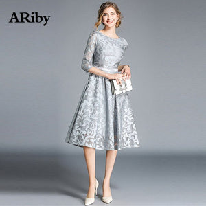 Women Dress Summer Lace Club Dress ARiby 2019 Fashion Office Lady A-Line Solid Embroidery Empire Round Collar Knee-Length Dress