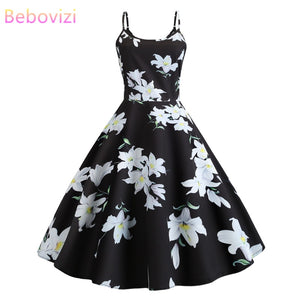 Bebovizi 2019 Summer New Fashion Women Black Dress Flower Print Casual Office