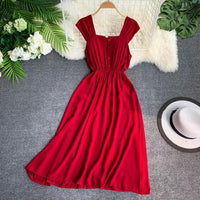 2019 new fashion women's dressest Vintage solid color single-breasted