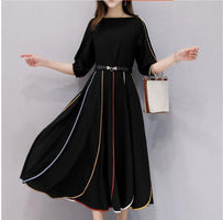 Plus Size 5xl Striped Summer Dress Patchwork Dress Elegant Sashes Vestido Longo Lantern Sleeve Vestido De Festa Tunics Women