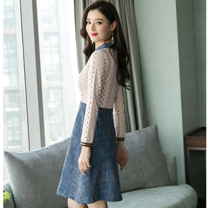 Spring Summer New Elegant Bodycon Sexy Lace Shirt Dresses 2019 Plus Size Korean Women Vintage Office Dress Party Casual Vestidos